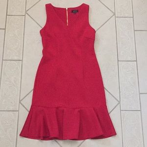 Red frill-bottom scuba-like Spense dress